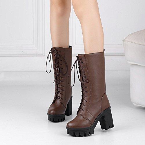 Women Warm Lined RAZAMAZA Boots Brown Lace Up O8Pddwq