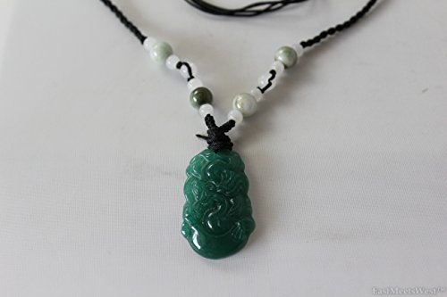 - Natural Green Jade Stone Hand Carved Lucky Pendant Charm Dragon Zodiac Feng Shui Lucky Amulet