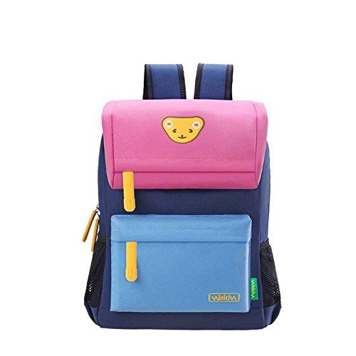 Willikiva Cute Bear Kids School Backpack for Children Elementary School Bags Girls Boys Bookbags (Pink/Wathet Blue/Royalblue