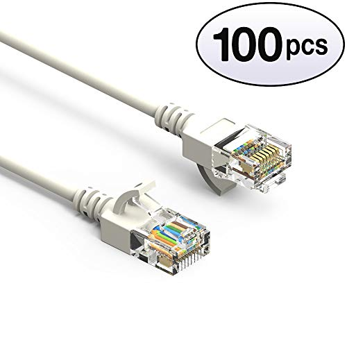 GOWOS Cat6a Slim UTP Ethernet Cable (100-Pack - 1.5 Feet) White - 28AWG Network Cable with Gold Plated RJ45 Molded/Booted Connector - 10 Gigabit/Sec High Speed LAN Internet/Patch Cable - 550MHz ()