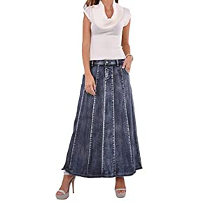 Style J Blue Waterfall Long Denim Skirt