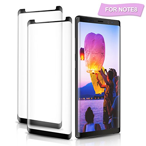 Amoner 2Pack Galaxy Note 8 Screen Protector, [Anti-Scratch] [3D Curved] [HD Clarity] [Bubble Free] Tempered Glass Screen Protector for Samsung Galaxy Note 8 [0.33mm, Black]