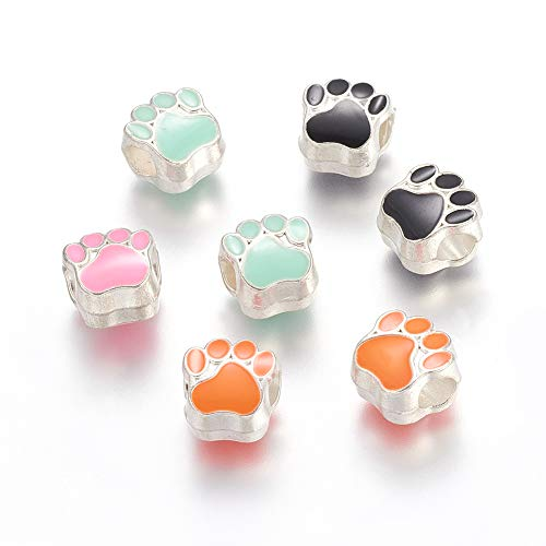 MegaPet 20pcs Mixed Color Alloy Enamel Dog Paw Print European Charm Beads Large Hole Beads fit Collar Making DIY Accessories for Bracelet Necklace Earring Jewelry Gifts for Animal Lovers, - Bead Print Paw Enamel
