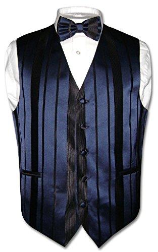 Men's Dress Vest & Bowtie Navy Blue Color Woven Striped Design Bow Tie Set sz M