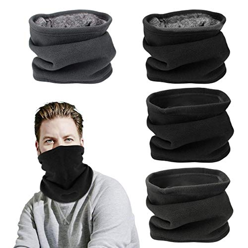 SelfTek 4 Pack Thin/Thick Neck Warmer Multipurpose Neck Gaiter/Warm Hat for Outdoor Sport(2 Colors,Black and Gray)