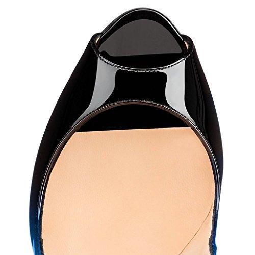 FSJ Women Slide Peep Toe High Heels Pumps Sexy Stilettos Patent Leather Shoes for Party Size 4-15 US B071QY3FHD 9.5 B(M) US|Blue-black