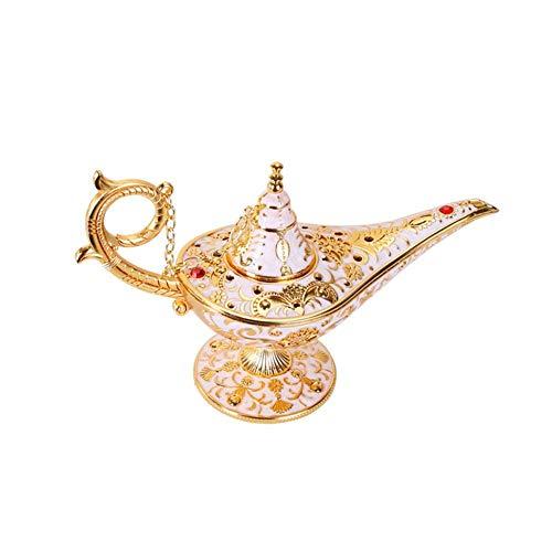 (Aladdin Magic Genie Lamps, Vintage Incense Burners Magic Genie Light Lamp, Collectable Rare Classic Arabian Costume Props Lamp Pot for Home Table)