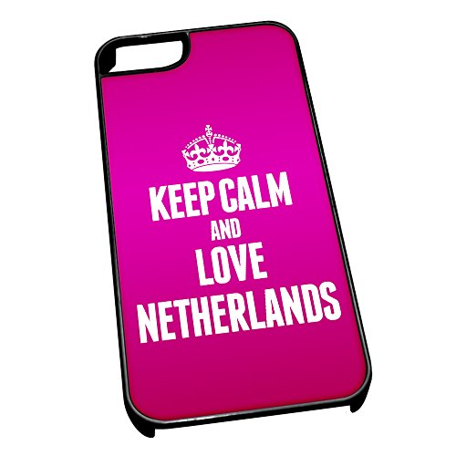 Nero cover per iPhone 5/5S 2251 Pink Keep Calm and Love paesi bassi