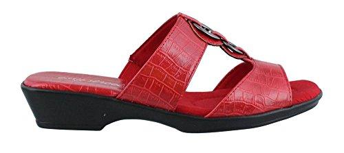 Easy Street Women's Fiery Slide Sandal, Red Crocodile, 10 M US