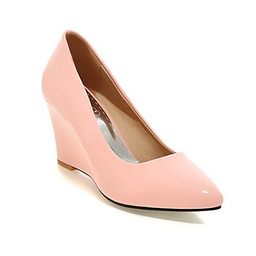 PU Heels Pumps Pointed Solid Shoes Pink Women's Closed Toe Pull High WeiPoot on EvcqOpCc