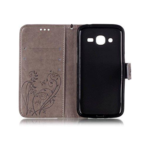 JIALUN-Personality teléfono shell SAMSUNG Galaxy J210 estuche, caja de cuero de la PU Premium estuche de estampado magnético, carcasa de color sólido para SAMSUNG J210 2016 Seguridad y Moda ( Color :  Gray