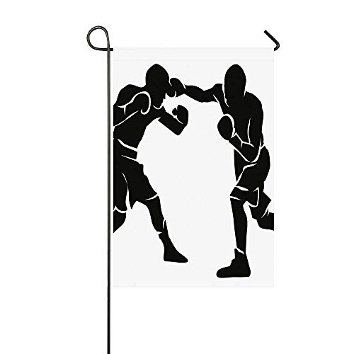 YOLIYANA Sports Utility Garden Flag,Black Silhouettes of Professional Boxers Fighters Combative Exercise Punch Attack Decorative for Home,18
