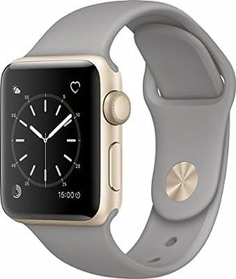 Apple - Apple Watch Series 2 38mm Gold Aluminum Case Concrete Sport Band - Gold Aluminum