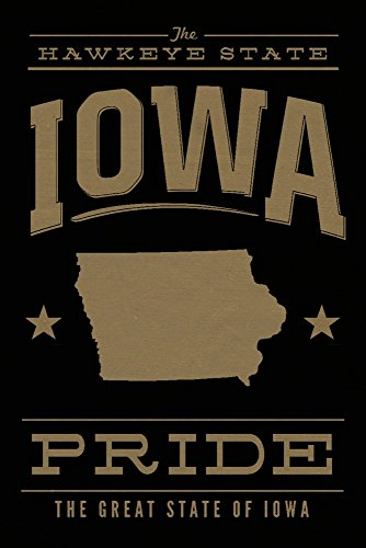 Iowa State Pride - Gold on Black Collectible Art Print, Wall Decor Travel Poster