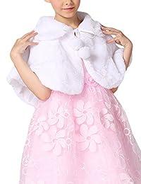 Soft Feel Girl's Princess Faux Fur Shoulder Cape Flower Girl Shawl Stole Shrug