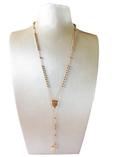 Vintage Rosary Bead (J.Shine Women Girl Gold Tone Tiny Bead Rosary Necklace Cross Pendant Vintage Chain 20