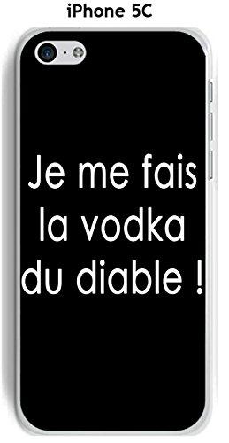 Cover Apple iPhone 5C Design citazione Mi Faccio La Vodka testo bianco sfondo nero