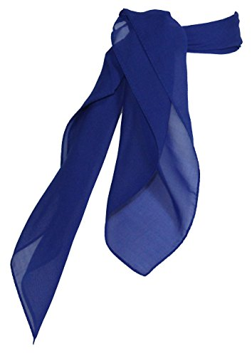 Sheer Chiffon Scarf Vintage Style Accessory for Women and Children, Royal Blue