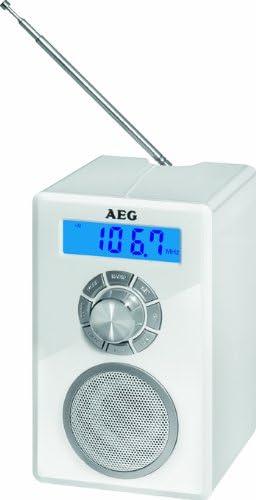 AEG MR 4139Bluetooth Mono Radio (emisor Memoria 20, Pantalla LCD, AUX-IN, sintonizador FM, función de Alarma), Color Blanco