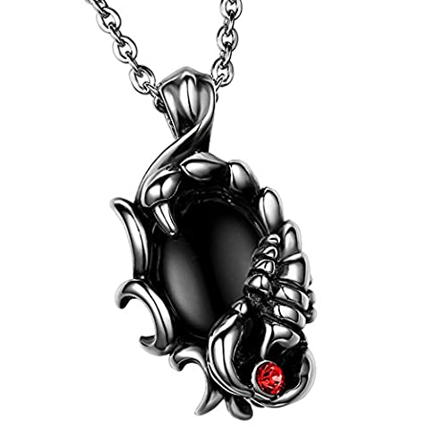 Oidea Mens Stainless Steel Scorpion Pendant Necklace with Black Ball Fit for Biker,Colour Silver (Necklace For Men Cool)