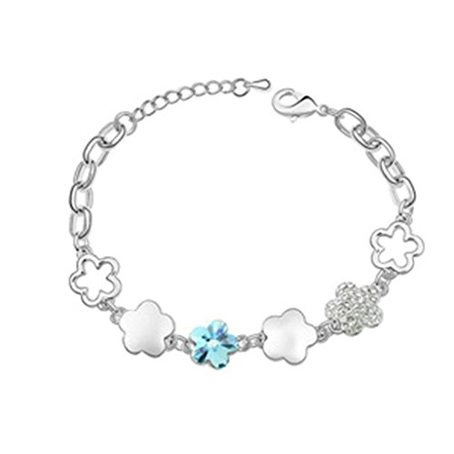Adisaer White Gold Plated Womens Bracelet Chain Bracelets Cherry Blossoms Sea Blue Cubic Zirconia 17CM
