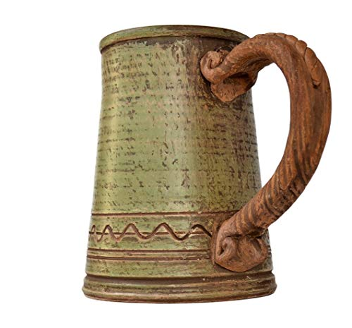 Barrel Stein - Handmade Ceramic Beer Mug Clay Cup with Handle 25oz Multicolor Natural Earthenware Eco Friendly Tea Coffee Lead Free Pottery Handcrafted Green Semin Mug
