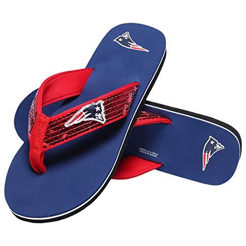 New England Patriots NFL Womens Sequin Flip Flops - M ()