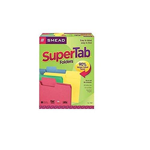 smead supertab file folder oversized 1 3 cut tab letter size assorted colors 100 per box 11987. Black Bedroom Furniture Sets. Home Design Ideas