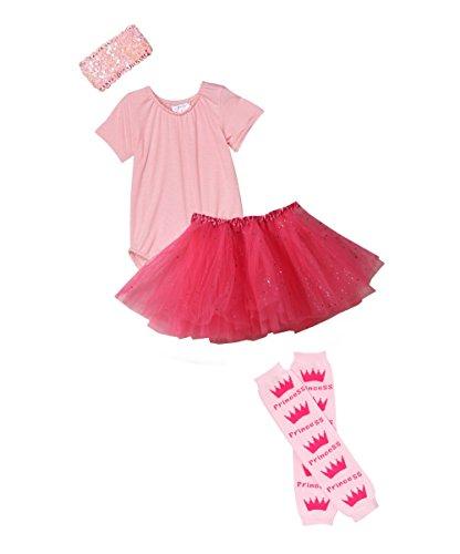 Girls Ballerina Tutu Gift Set (4/6, Pink / Hot Pink) (Ballerina Costume)