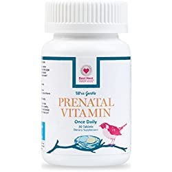 Best Nest Prenatal Vitamins, 30 Count, Once Daily, Made With Whole Food, Organic Blend, L-Methylfolate (Folic Acid) and Methylcobalamin (B12), Easy to Swallow, 100% Natural Vitamin