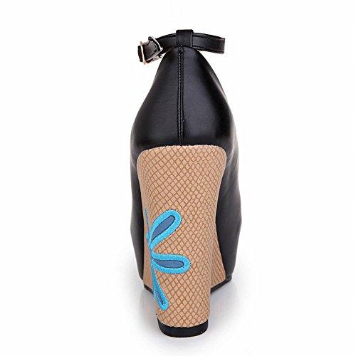 MissSaSa Damen modern Knöchelriemchen Peep-toe Plateau Pumps mit Keilabsatz Europa und USA Stil Schnalle Wedge Schuhe Schwarz