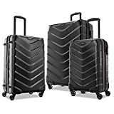 American Tourister Arrow Expandable Hardside Luggage with Spinner Wheels, Black, 3-Piece Set (21/24/28)