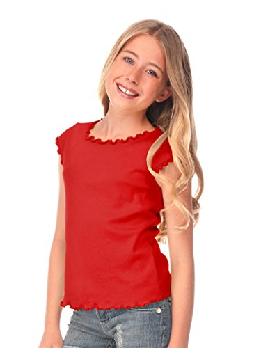 (Kavio! Big Girls 7-16 Lettuce Edge Scoop Neck Cap Sleeve Top Red L)