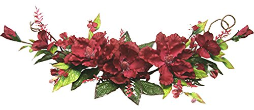 40'' Cotton Magnolia Swag Aritificial Silk Wedding Bridal Flowers Home Decor (Burgundy) by Wedding Flowers