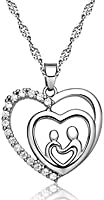 """New Mom, Mommy, Mama, Mum, Abuela Heart """"Love and Embrace"""" Silver Crystal Diamond Simulant Pendant Necklace- Great Christmas Birthday Mother's Day Valentines Gifts for Women from Daughter"""