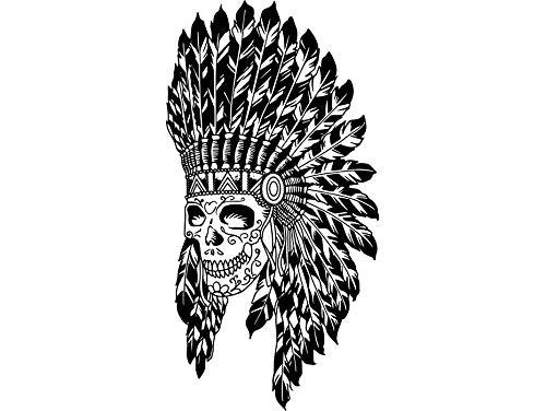 Yetta Quiller Cherokee Indian Skull Native Traditional Mascot Feather Warrior Tattoo Vector Clipart Vinyl Sticker Circuit Vinyl Wall Decor Cutting