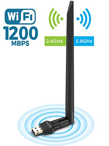 HoneyBull 1200 Mbps Wireless USB WiFi Adapter (5.8GHz & 2.4GHz) Dual Band USB Adapter with +5dBi External Antenna (Supports Windows XP, Vista, 7, 8, 10 & Mac OS X) ()