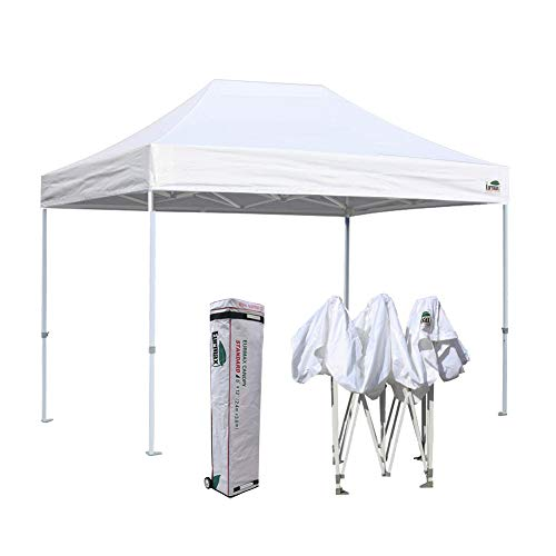 Eurmax 8x12 Ez Pop Up Canopy Party Tent Commercial Outdoor Instant Canopies Bonus Deluxe Wheeled Storage Bag (White)