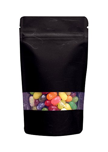 8 oz. Black Rice Paper Stand Up Zip Pouch w/ Window & Valve (Coffee Packaging, Tea Packaging, Jerky Packaging)