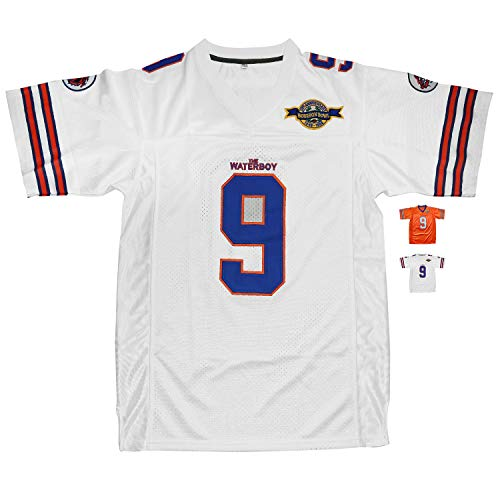 Micjersey Waterboy Football Jersey, Stitched #9 Bobby Boucher 50th Anniversary Movie Football Jerseys S-XXXL (White, S)