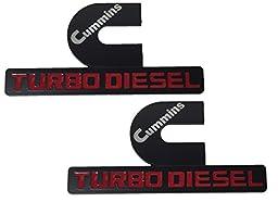 X2 Black Cummins 12V 24V 4BT 6BT Turbo Diesel Emblem Replaces OEM Mopar 68276962AA, 68276962AB Left OR Right Side