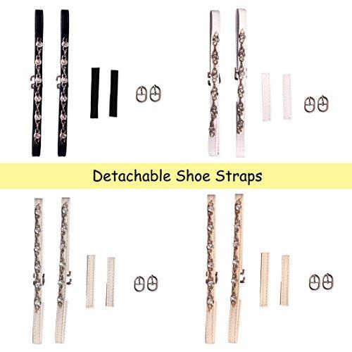 Andux Abnehmbare Schuhbaender Zum Befestigen von hochhackigen Schuhen und flache schuhe-PXD-01 Nicht-gerade weiss
