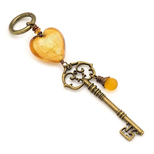Large golden yellow glass heart and key purse charm or keychain