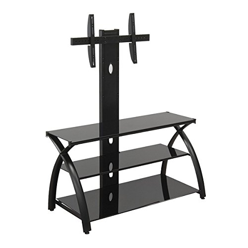 Offex Futura TV Stand with Tower Glass - Black/Black