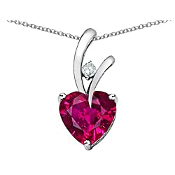 Star K Heart Shape 8mm Created Ruby Pendant Necklace