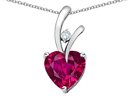 Star K Heart Shape 8mm Created Ruby Endless Love Pendant Necklace Sterling Silver