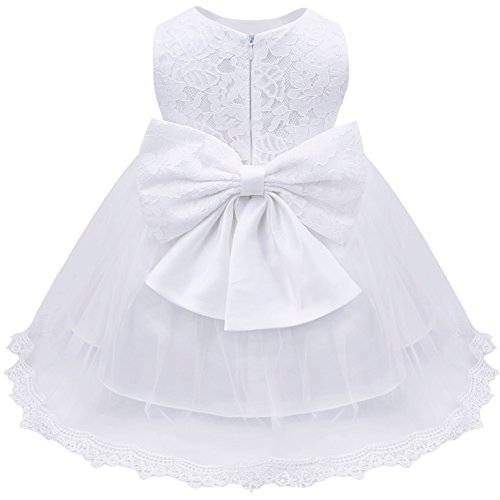 Baby White Dress (iEFiEL Baby Girls Lace Baptism Flower Dress Wedding Pegeant Tutu White 9-12 Months)