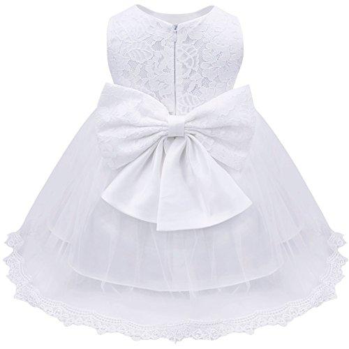 iEFiEL Baby Girls Lace Baptism Flower Dress Wedding Pegeant Tutu White 18-24 Months