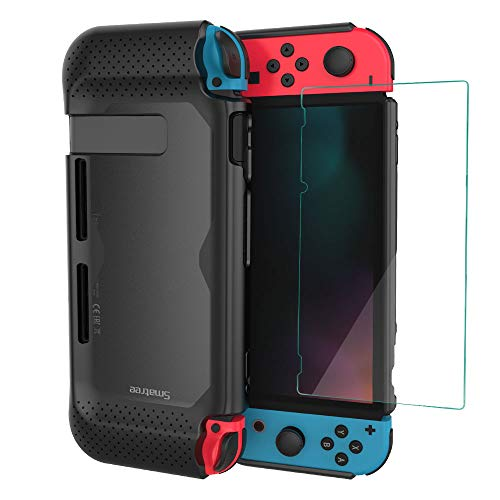(Smatree Hard Protective Case + Tempered Glass Screen Protector Compatible for Nintendo Switch (Black) )