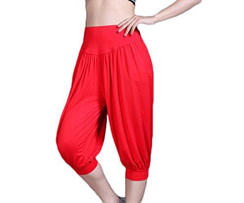 Baymate Mujeres 3/4 Holgados Harén Pantalones Comodidad Pantalón de Yoga Rojo